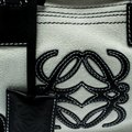 Loewe Fabric Suede Leather Satchel in White Image 7