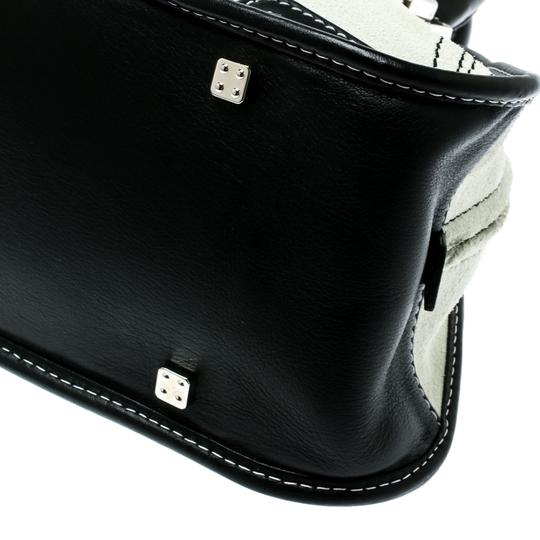 Loewe Fabric Suede Leather Satchel in White Image 8