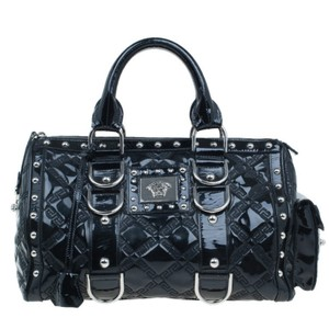 Versace Leather Fabric Satchel in Black