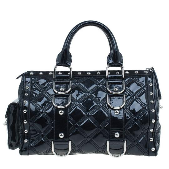 Versace Leather Fabric Satchel in Black Image 1