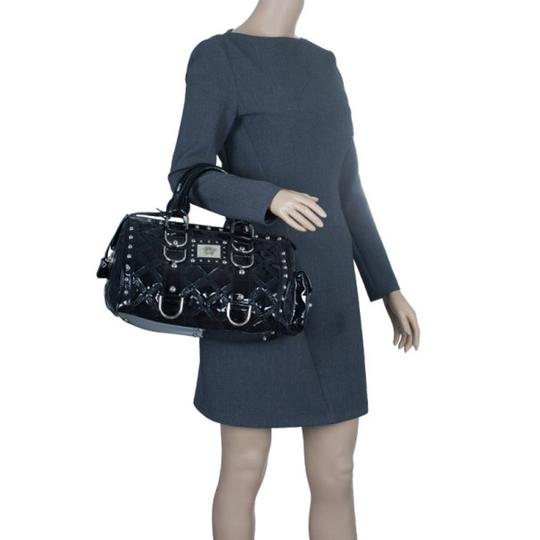 Versace Leather Fabric Satchel in Black Image 2
