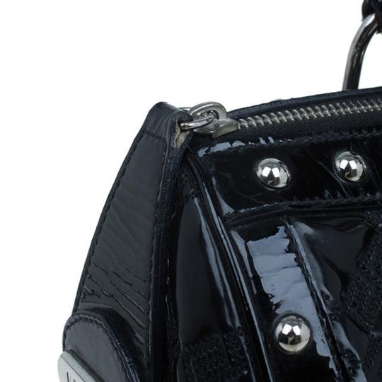 Versace Leather Fabric Satchel in Black Image 4