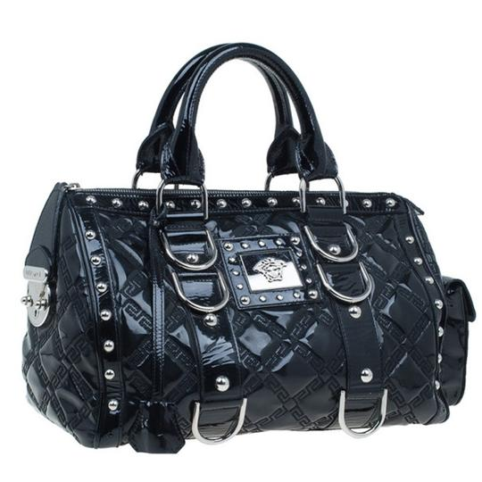 Versace Leather Fabric Satchel in Black Image 7