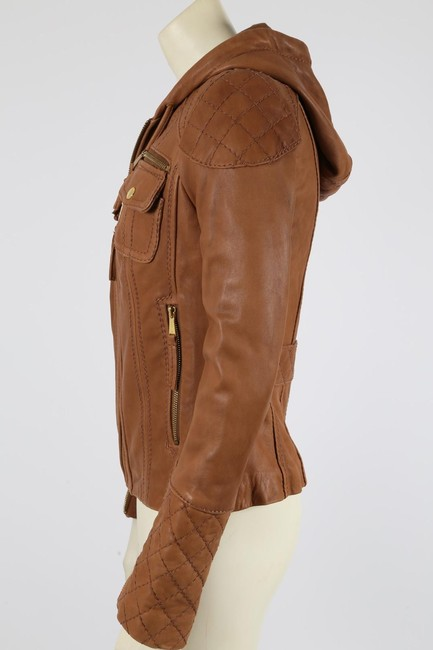 Michael Kors Casual Camel Leather Jacket Image 3