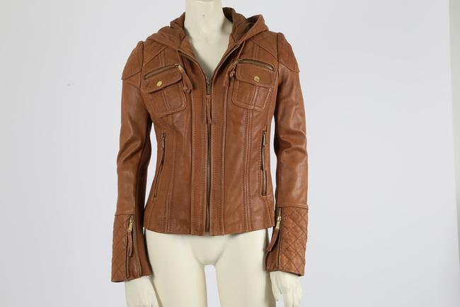 Michael Kors Casual Camel Leather Jacket Image 8