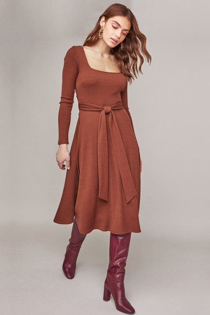 Warm nutmeg Maxi Dress by ASTR Midi Knit Brown Zara Image 1