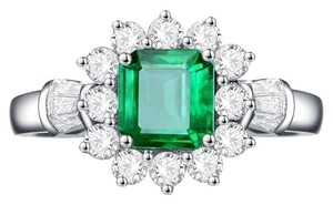 Other New Arrival Vintage 100% 925 Sterling Silver Jewelry Ring Natural Emerald Gemstone Diamond Rings for Women