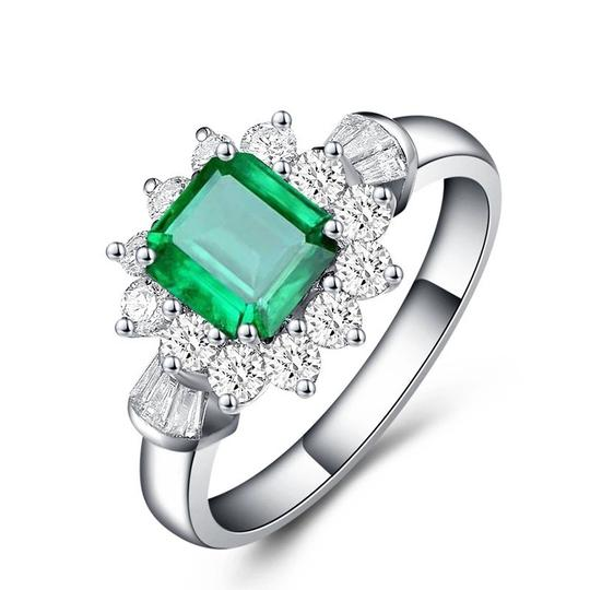 Other New Arrival Vintage 100% 925 Sterling Silver Jewelry Ring Natural Emerald Gemstone Diamond Rings for Women Image 2
