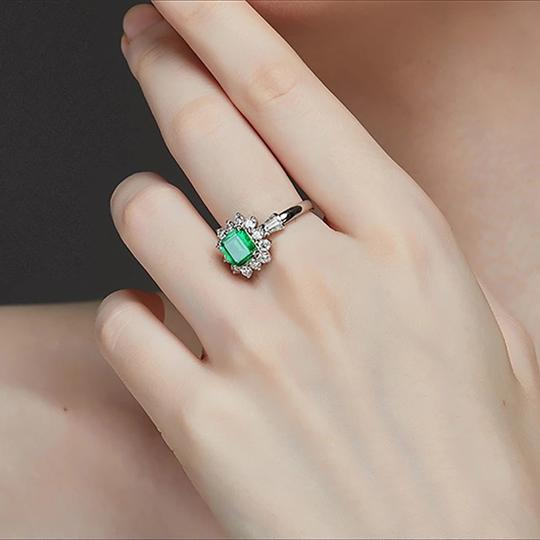 Other New Arrival Vintage 100% 925 Sterling Silver Jewelry Ring Natural Emerald Gemstone Diamond Rings for Women Image 3