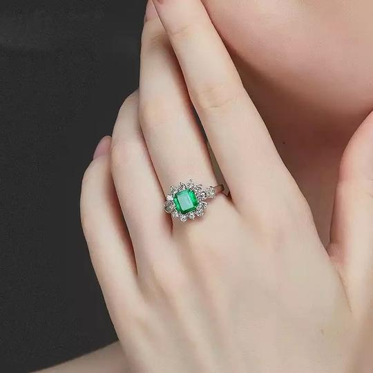 Other New Arrival Vintage 100% 925 Sterling Silver Jewelry Ring Natural Emerald Gemstone Diamond Rings for Women Image 4