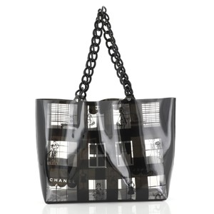 Chanel Coco Window Printed Tote in black