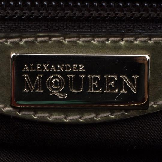 Alexander McQueen Patent Leather Fabric Satchel in Gold Image 4