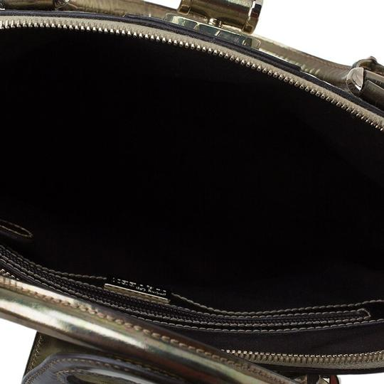Alexander McQueen Patent Leather Fabric Satchel in Gold Image 7