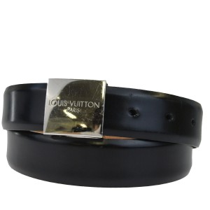 Louis Vuitton LOUIS VUITTON Buckle Belt Leather Silver Plated Black