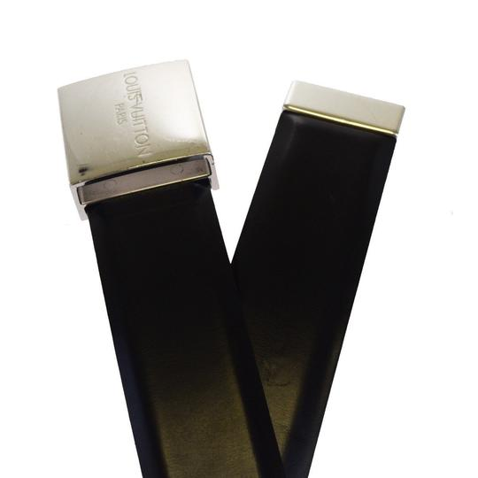 Louis Vuitton LOUIS VUITTON Buckle Belt Leather Silver Plated Black Image 4
