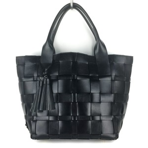 Michael Kors Woven Satchel Tote in Black