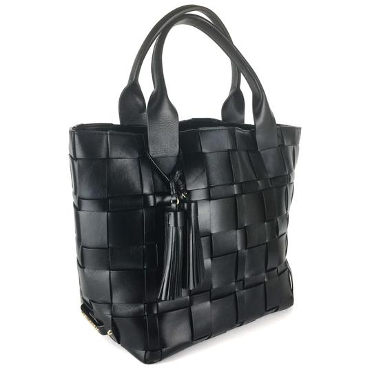 Michael Kors Woven Satchel Tote in Black Image 1