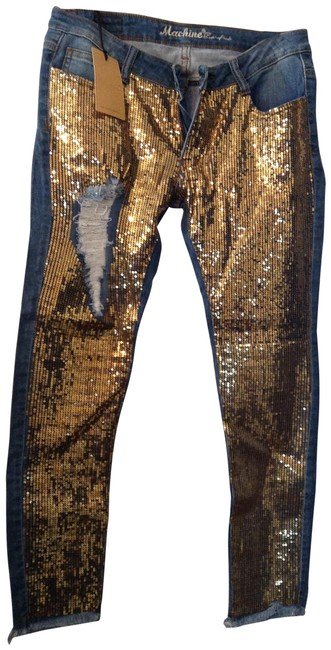 Item - Blue and Gold Sequins Distressed Skinny Jeans Size 33 (10, M)