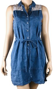 Timing short dress Blue Faux Denim Lace Trim Tie Front on Tradesy
