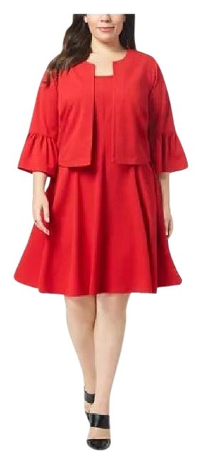 Item - Red Fit & Flare Bell-sleeve Jacket Mid-length Cocktail Dress Size 20 (Plus 1x)