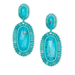 Kendra Scott Turquoise Matte Kaki Statement Earrings