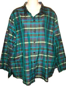French Laundry Plus-size Silk Button Down Shirt Plaid