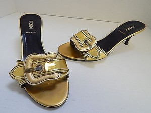Fendi Italy Leather Gold Sandals