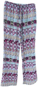Vanilla Star Aztec Pockets Drawstring Colorful Boho Relaxed Pants MultiColor