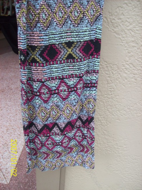 Vanilla Star Aztec Pockets Drawstring Colorful Boho Relaxed Pants MultiColor Image 3