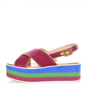Gucci Wedge Sandals Pink Platforms