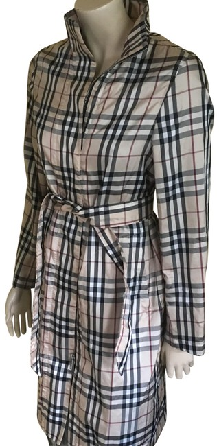 Item - Tan Nova Check With Removable Hood and Belt Coat Size 6 (S)