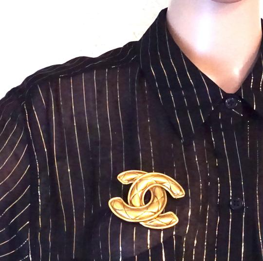 Chanel Extra Large Jumbo CC quilted gold hardware brooch pin charm Image 1