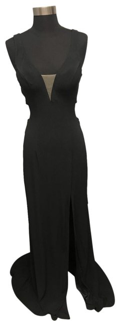 Item - Black Jersey Fitted Long Formal Dress Size 2 (XS)