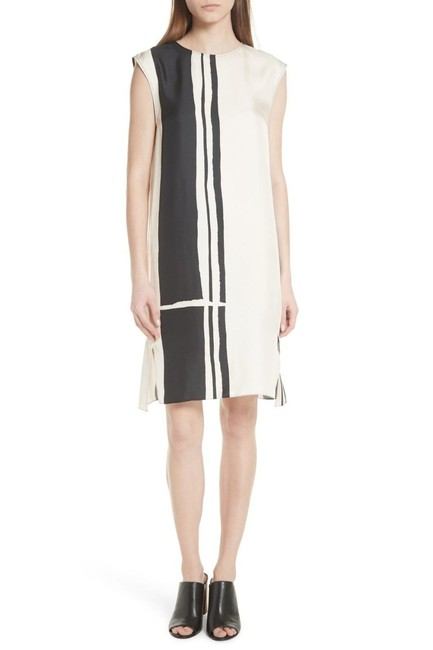 Item - Ecru/ Black Minimal Sheath Beige Hans Stripe Silk Twill Mid-length Short Casual Dress Size 8 (M)