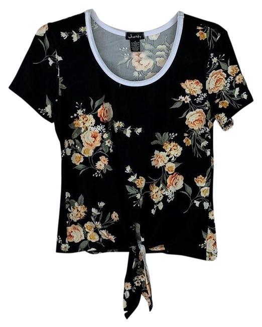 Item - Black Yellow Roses Print Cropped Knotted Front Blouse Size 8 (M)