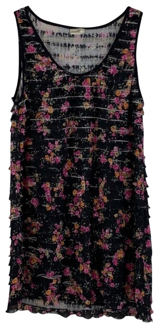 Item - Black Pink Orange White Floral Print Ruffled Sleeveless Short Casual Dress Size 12 (L)