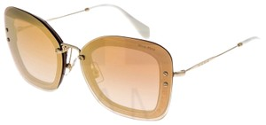 Miu Miu REVEAL Glitter 02T Gold Brown Rose Gradient Mirrored Sunglasses MU02TS