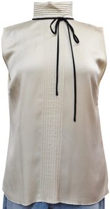 Chanel Silk Bow Pleated Top Ivory