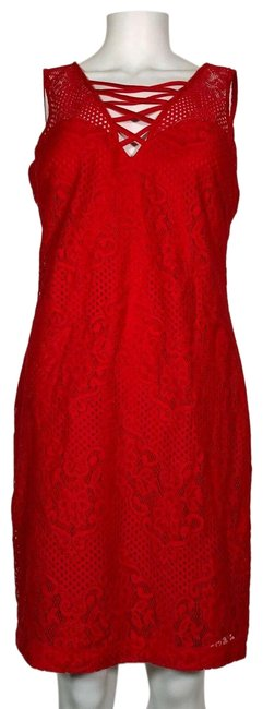 Item - Red Lace Sleeveless New Short Cocktail Dress Size 12 (L)