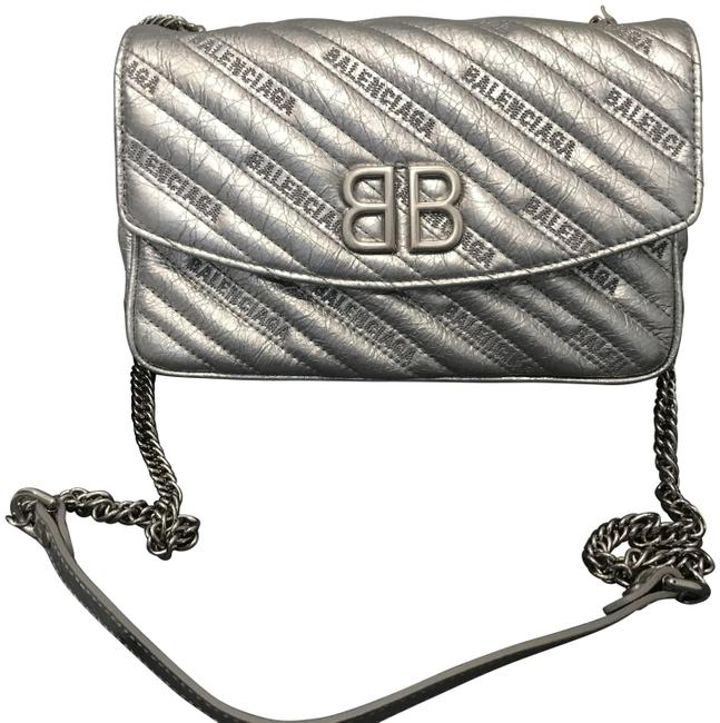Item - Wallet on Chain Bb Metallic Silver Leather Cross Body Bag