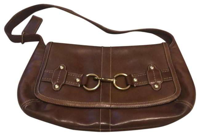 Item - Handbag Duster Brown and Gold Leather Baguette