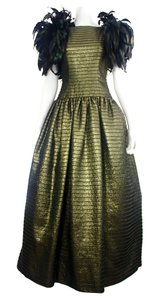 Gold Metallic & Black Maxi Dress by Victor Costa