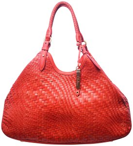 Cole Haan Genevieve Triangle Weave Tote in Spicy Orange