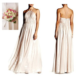 Vera Wang Blush Polyester Metallic Gown Casual Wedding Dress Size 14 (L)