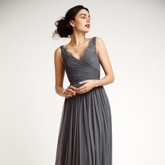 Item - Pewter Grey Slate Grey Medium Grey with A Touch Of Blue. Fleur Long Formal Dress Size 6 (S)