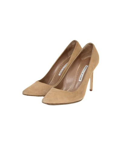 Manolo Blahnik Pointed Suede Nude Pumps Image 1