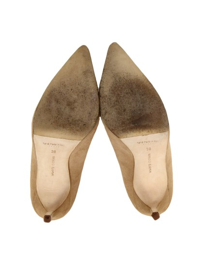 Manolo Blahnik Pointed Suede Nude Pumps Image 4
