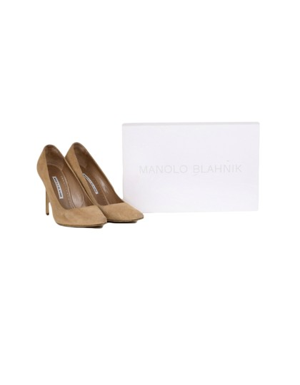 Manolo Blahnik Pointed Suede Nude Pumps Image 5