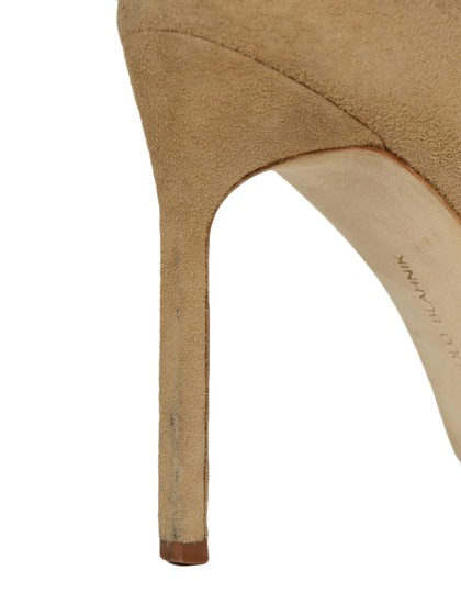 Manolo Blahnik Pointed Suede Nude Pumps Image 6