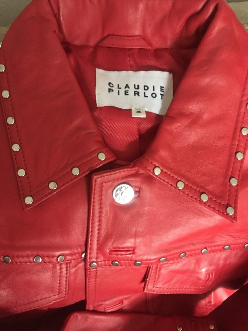 Claudie Pierlot Red Leather Jacket Image 5